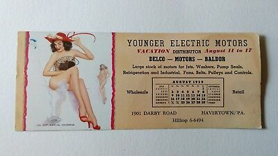 Vintage 1959 Pin Up Advertising Ink Blotter Younger Electric Motors August