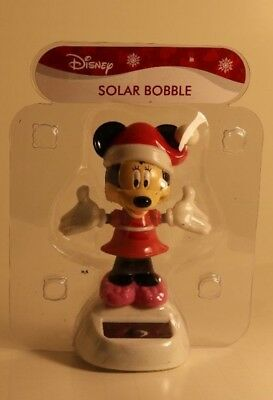 Disney Minnie Mouse Christmas Solar Bobble Head Dancing New