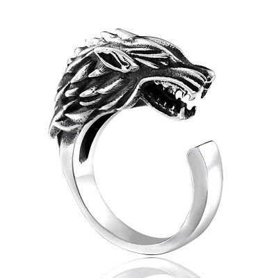 Fashion Popular Game Of Thrones Ice Wolf Ring Opening Stainless Steel For Man