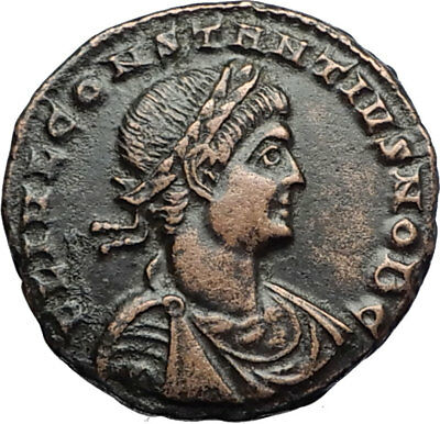 CONSTANTIUS II Authentic Ancient 330AD Genuine Roman Coin w SOLDIERS  i71006