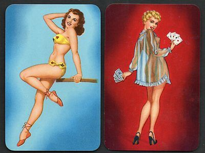 Vintage Playing Swap Cards :   1950's PINUPS PAIR * MINT CONDITION *