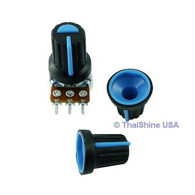 5 x Black Knob with Blue Pointer - Soft Touch - USA Seller - Free Shipping