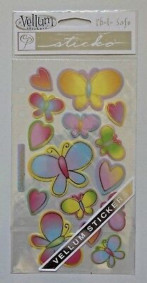 1 Sheet Of Butterfly & Hearts Vellum Stickers