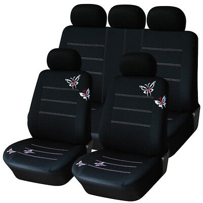 Car Seat Covers Polyester Fabric Fashion Butterfly Embroidery AUTOYOUTH Full Set