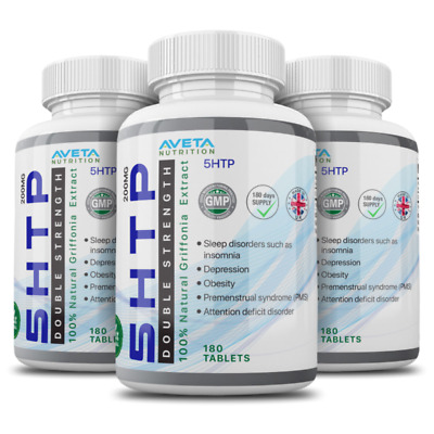 5HTP 200mg 3 Bottles 540 Tablets Made in UK 100% Money Back Guarantee   NeW