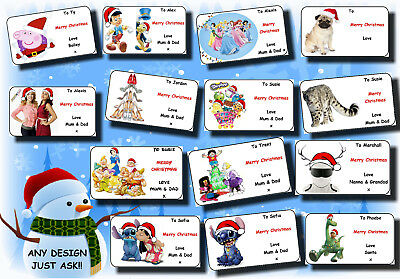 21 / 16 personalised CHRISTMAS gift labels stickers tag xmas ANY NAME MESSAGE 19