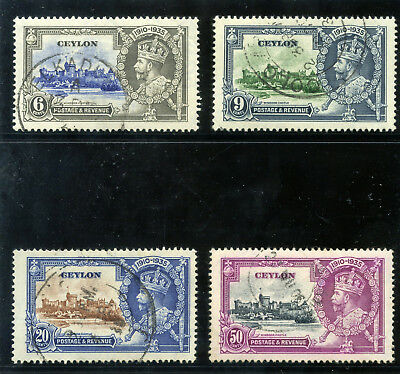 Ceylon 1935 KGV Silver Jubilee set complete VF used. SG 379-382. Sc 260-263.