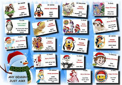 21 / 16 personalised CHRISTMAS gift labels stickers tag xmas ANY NAME MESSAGE 22