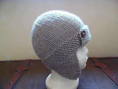 Hand knitted baby boys aviator/trapper hat, oatmeal, 12-18 months