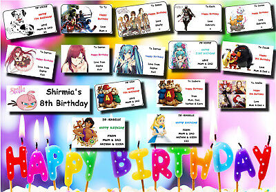 21 or 16 PERSONALISED birthday gift labels stickers tag present party bag 11