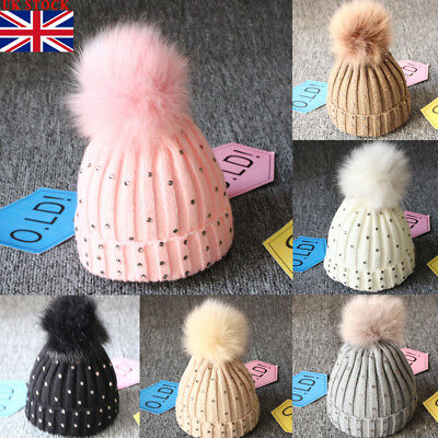 UK Newborn Baby Boy Girls Winter Warm Double Fur Pom Bobble Knit Beanie Hats Cap