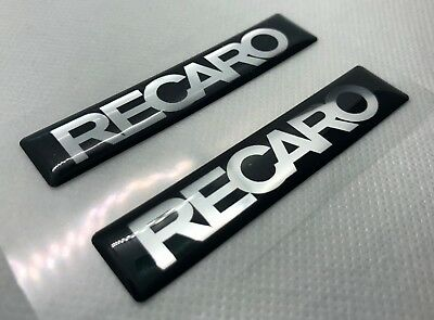 2 pcs. RECARO badge logo stickers. Domed 3D Stickers/Decals.
