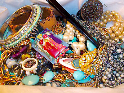 Huge LBS Vintage Now Jewelry Lot Unsearched Untested Junk Drawer Estate Find Pin