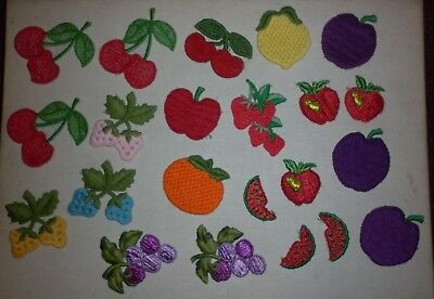 JOB LOT VINTAGE 1970s EMBROIDERED FRUIT MOTIF PATCHES GOOD CONDITION
