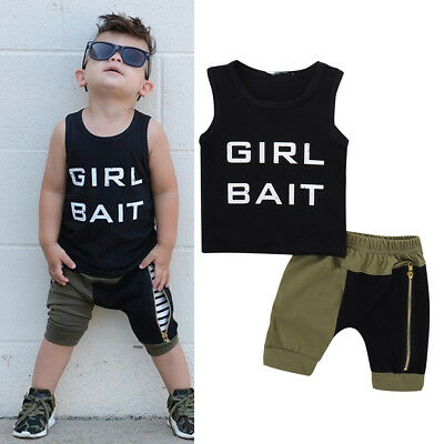 2pcs Toddler Kids Baby Boys Vest T-Shirt Tops+Shorts Pants Outfits Set Clothes