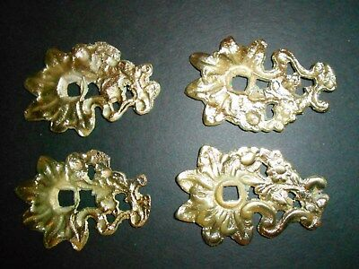 Antique Cabinet Knob Back Plates - Solid Brass - Lot of 4 - Steampunk