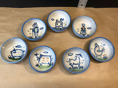 7 M. A. Hadley Cereal Bowls 5.5 inches diameter Farm House Couple Animals set