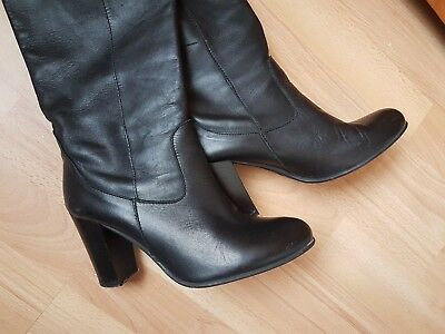 100% Genuine Italian Leather Over Knee Pool On Black Boots size UK 5 Euro 38