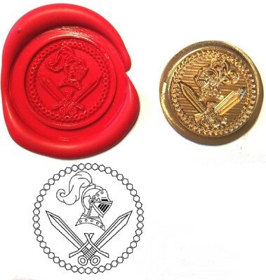 Knights Helmet Crossed Sword Wax Stamp Seal Kit or Buy Coin Only XWS039B/XWSC216