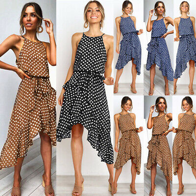 Womens Boho Dress Polka Dot Party Cocktail Skirt Ladies Clubwear Sundress Summer