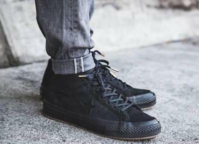 New CONVERSE One Star Mid Suede Sneaker Mens Triple black gum all sizes