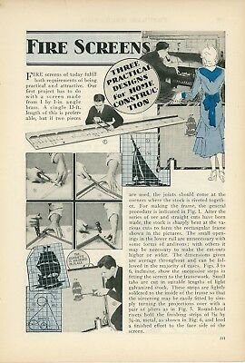1933 How to Make Fireplace Screens Fire Home Design Arts & Crafts Style