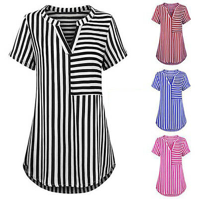 Women Summer Stripe Short Sleeve Blouse T-Shirt V-Neck Casual Long Top Tee Newly