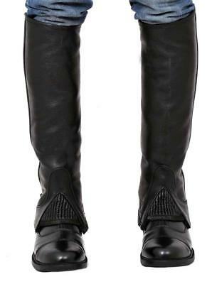 """HALF CHAPS HORSE RIDING EQUESTRIAN BLACK EXTRA LARGE 15 - 17"""" Riders Trend"""