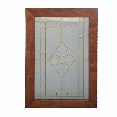 Vintage Arts & Crafts Architectural Leaded Beveled Glass Window, 20th Century