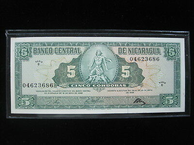 Nicaragua 5 Cordobas 1968 P116 Unc 16# Bank Currency Banknote Paper Money
