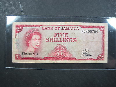 Jamaica 5 Shillings 1960 P51 #e British Queen Currency Banknote Paper Money