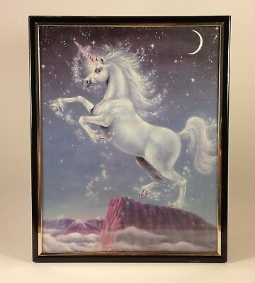 Vintage Framed Unicorn Art Print - Gail Rein - Fantasy Mythical Creature Picture