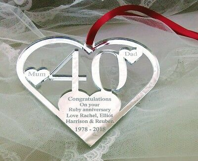 40Th Ruby , Wedding Anniversary Gift, Personalised Keepsake From You Mun & Dad