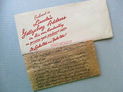 Vintage LINCOLN'S GETTYSBURG ADDRESS on parchment paper with envelope