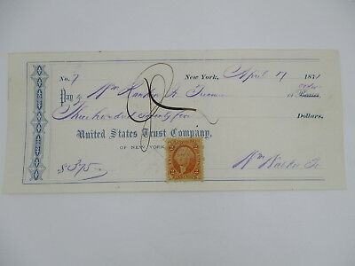 1871 vintage UNITED STATES TRUST COMPANY CHECK with 2 CENT BANK CHECK STAMP