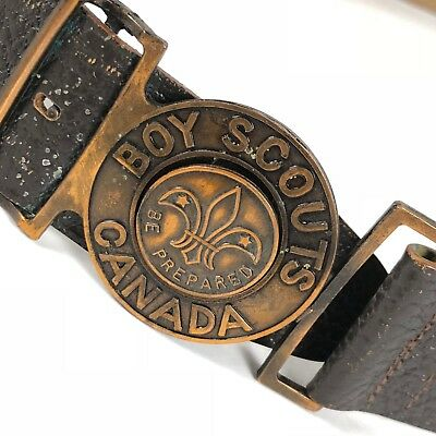 Vintage BSA Boy Scouts CANADA Cowhide Buckle Belt 34 Inches.