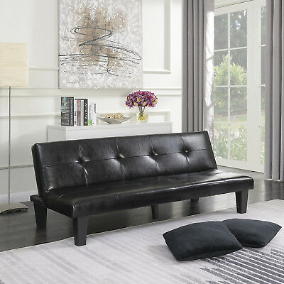 BLACK LEATHER FAUX Fold Down Futon Lounge Convertible Sofa ...