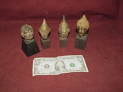 Group Old or Antique Thai Bronze Buddha Sculpture Heads , 1 Chinese ?