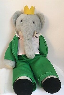 Babar The Elephant Plush Eden Green Toys Vintage 22 Yellow Crown