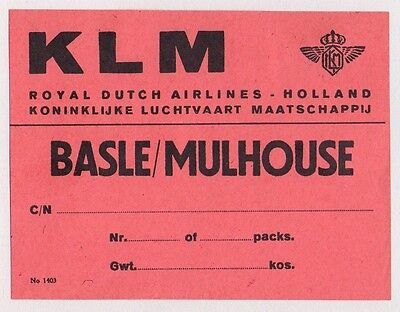 Vintage Klm Holland Royal Dutch Airline To Basle / Mulhouse Luggage Label