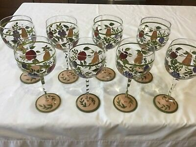 Napa Valley by Noble Excellence SET 8 Handpainted Balloon Wine Glasses Goblet