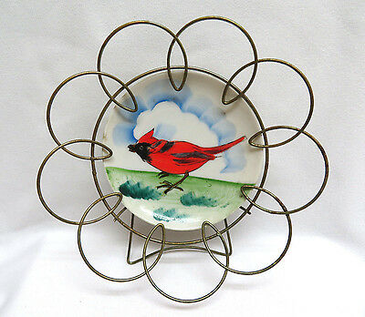 Vintage Hand Painted RED CARDINAL BIRD Plate in Wire Frame / Stand