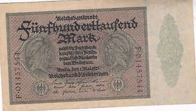 KAPPYSCOINS ID10563 GERMANY INFLATION 1923 500,000 MARK BANK NOTE  P88a CIRC
