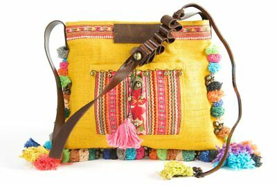 ef00db77cf Roman Holiday - Vintage Boho Shoulder Bag in Turmeric Gold Hemp With One Of  A.