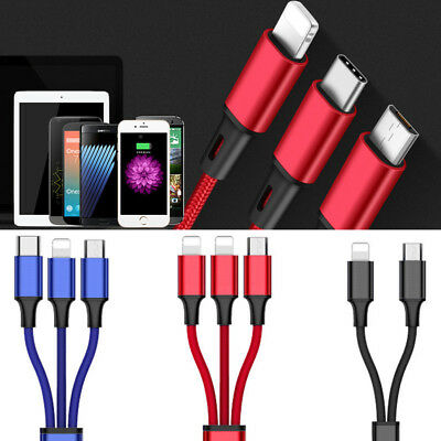 3 in1 Multi TYPE-C Micro USB Lightning Charging Cable Cord For Samsung iPhoneX