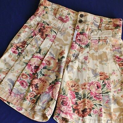 "RARE 80s 90s Vintage Z CAVARICCI High Waisted Pleated FLORAL - Waist 28""  - NOS"