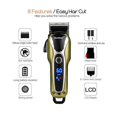 Kemei KM-1990 Professional Electric Cordless Men Hair Clipper Shaver LCD Display