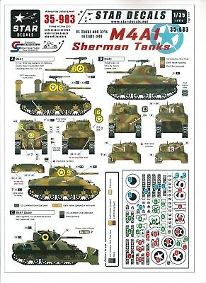 Star Decals 35983 - US Tanks and AFV in Italy #1 M4A1 Sherman Tanks - 1/35