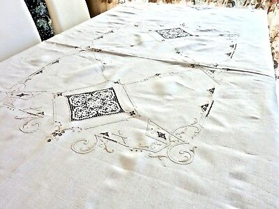 Outstanding Antique Italian Hand Made Linen Tablecloth C 1920'S