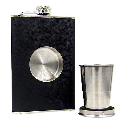Black Alloy 8oz Hip Flask with Collapsible Shot Glass Screw Cap Hip Drink nice